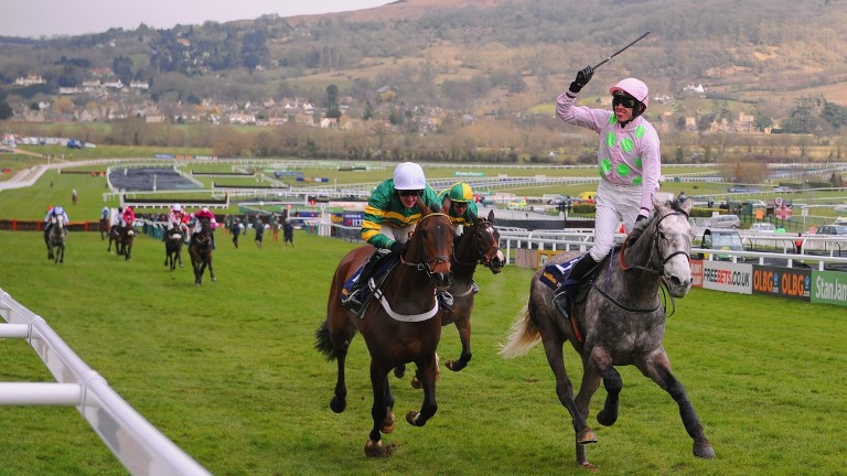 Champagne Fever (right) lands the Supreme Novices' Hurdle from My Tent Or Yours the year after his Champion Bumper success