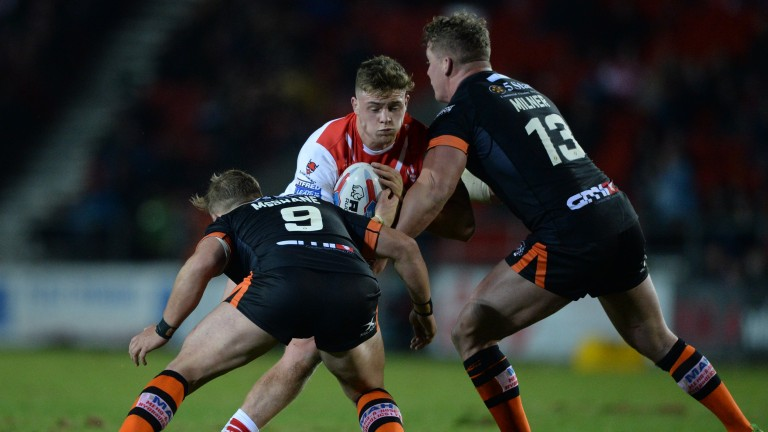 Morgan Knowles of St Helens in action against Castleford