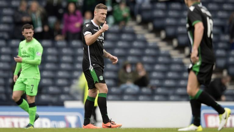 Anthony Stokes of Hibernian celebrates scoring against Celtic