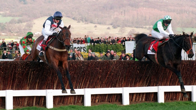Cool Dawn (left) jumps the last alongside Strong Promise in the 1998 Gold Cup