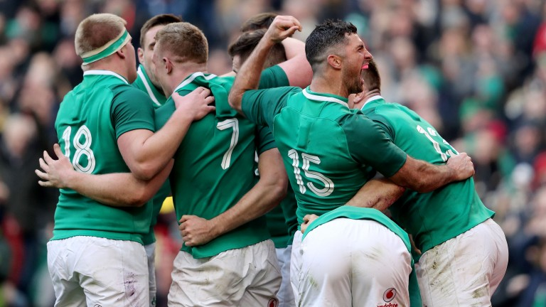 Ireland celebrate Jacob Stockdale's second try against Wales