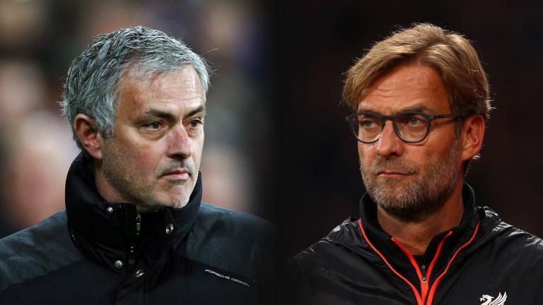 Manchester United's Jose Mourinho faces Liverpool's Jurgen Klopp