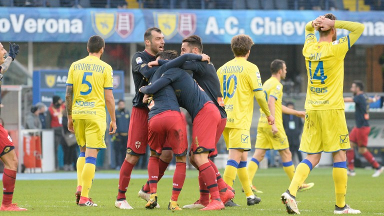 Genoa celebrate a goal against Chievo