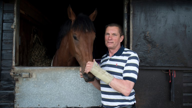 Simon Dow (pictured with stable stalwart Mr Scaramanga) had a terrific treble at Lingfield on Saturday