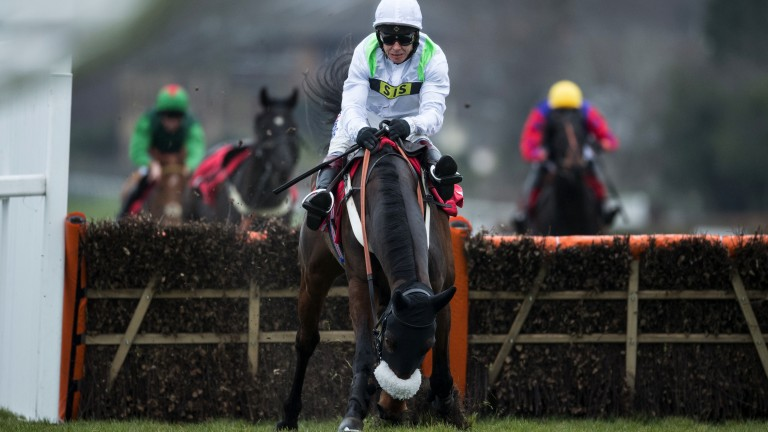 Sitting tight: Brianstorm makes a serious mistake at the last but Richard Johnson stays aboard to win the novice hurdle