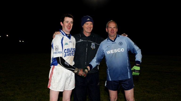 Horse racing: Andrew 'Sandy' Shaw, pictured here with jockey Roger Loughran (left) and trainer Tony Martin (right) at a charity football match