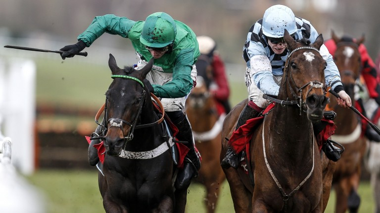 Mr Antolini (right) and Call Me Lord come close together in a controversial tussle for the Imperial Cup