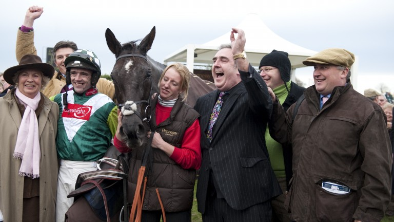 The Denman team celebrate his second victory in the Hennessy Gold Cup