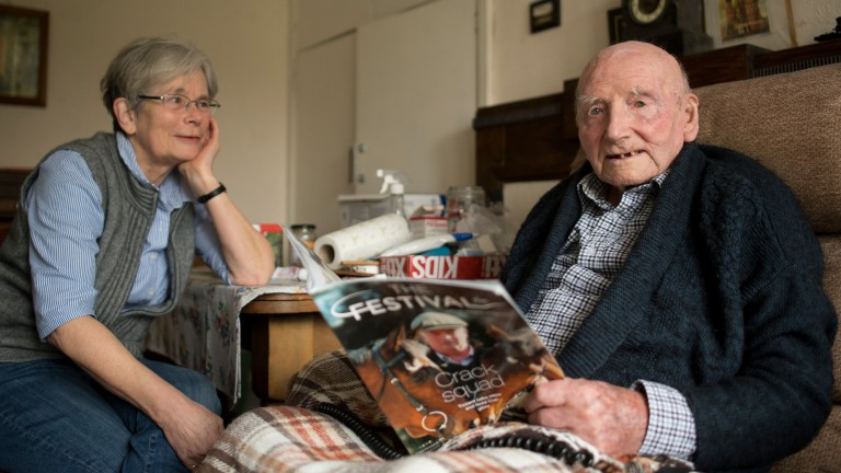 109-year-old Ralph Hoare with his daughter Kate Hughes at home in Gloucester