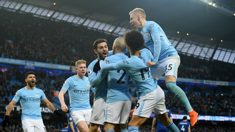 Manchester City celebrate a win over Chelsea