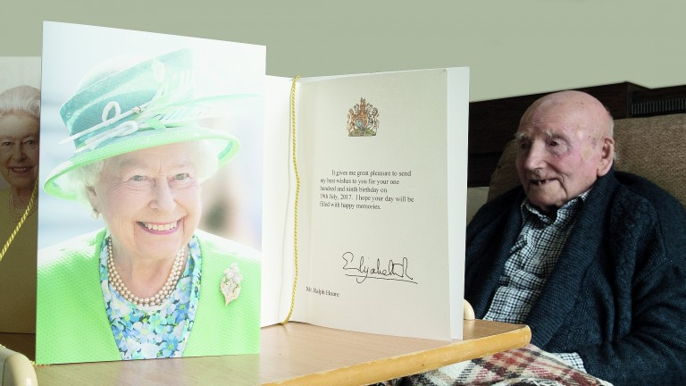 Ralph Hoare with his growing collection of birthday cards from the Queen