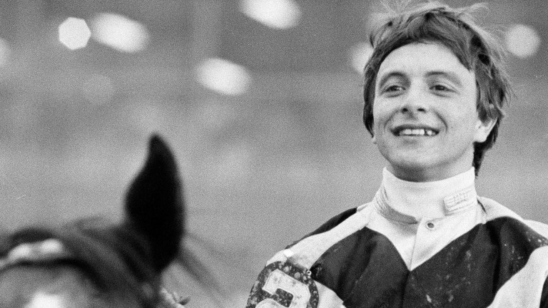 Ronnie Franklin on Spectacular Bid after winning the Preakness Stakes in 1979