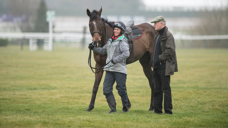 Douvan (Holly Conte) and Willie Mullins on the gallopsCheltenham 12.3.18 Pic: Edward Whitaker