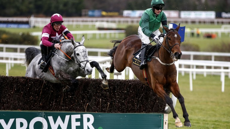 Footpad beats Petit Mouchoir (left) in the Frank Ward Solicitors Arkle Novice Chase last time
