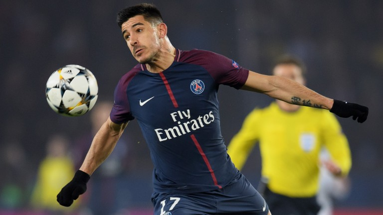 Yuri Berchiche of Paris St-Germain controls the ball