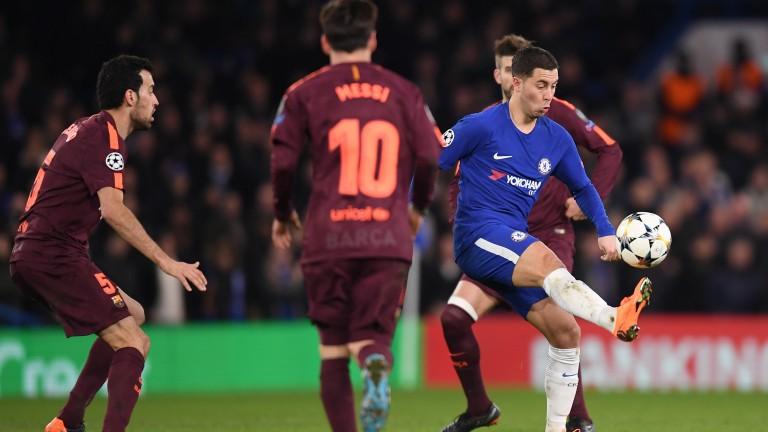 Eden Hazard of Chelsea in action against Barcelona