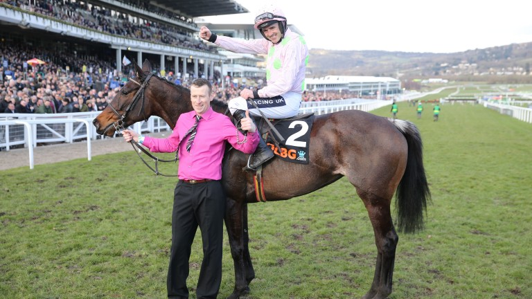 Benie Des Dieux and Ruby Walsh after their victory in the 2018 Mares' Hurdle at Cheltenham