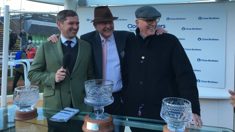 Tim Radford (centre) and Mick Channon (right) enjoy their first festival wins