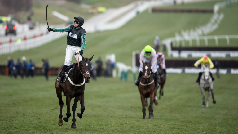 Altior and Nico de Boinville celebrate winning the Champion Chase