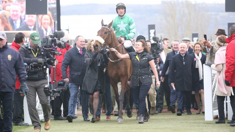 Presenting Percy is led in to the winner's enclosure after his dominant performance