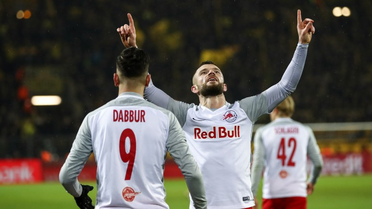 Valon Berisha of Red Bull Salzburg celebrates a goal against Borussia Dortmund