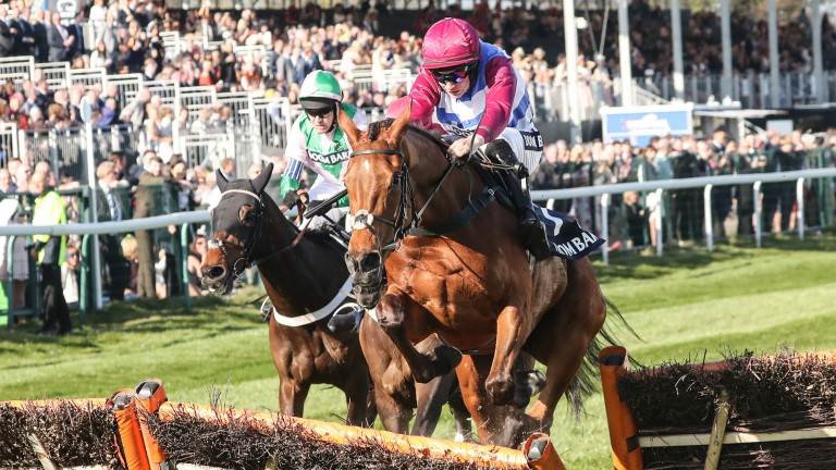 The Worlds End (Adrian Heskin) winning the Grade 1 Doom Bar Sefton Novice Hurdle at Aintree last April