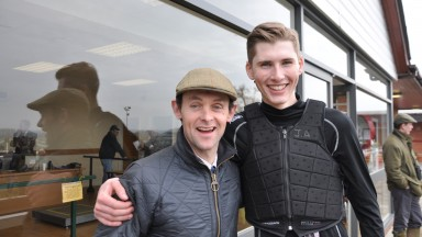 Stuart Morris (left) and Jack  Andrews, who team up with Volnay De Thaix in the Foxhunter