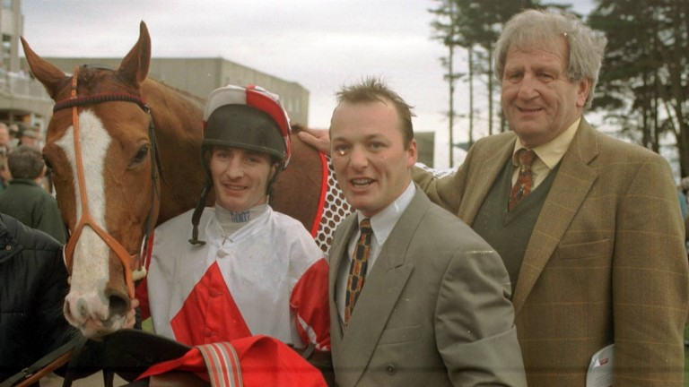 Michael Stroud (right) with jockey Norman Williamson and Mark Pitman after Master Tribe won the Ladbroke Hurdle at Leopardstown in 1997