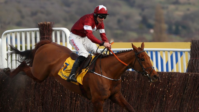 Balko Des Flos clears the last fence under Davy Russell in the Ryanair Chase