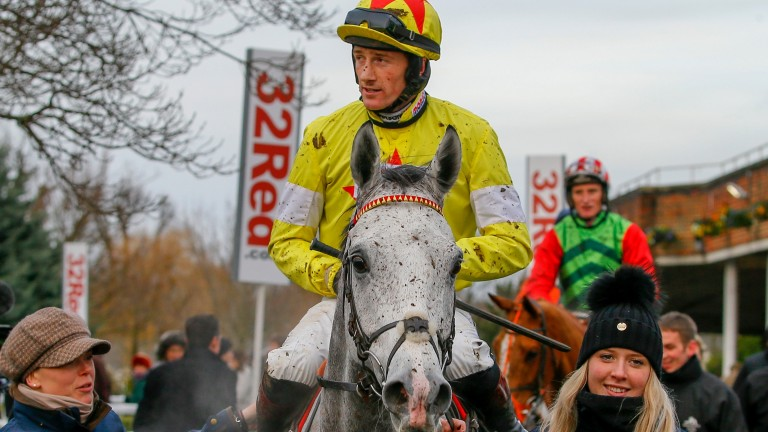 Sam Twiston-Davies and Politologue after their Grade 2 win at Kempton in December