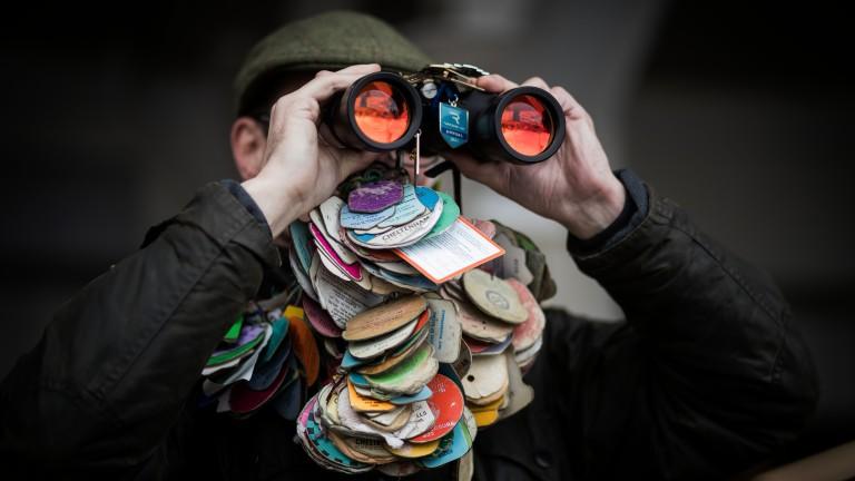 Impressive collection: a regular racegoer makes use of his binoculars