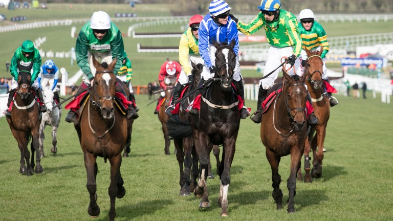 Wholestone (left) finished third to Penhill (centre) in the Stayers' Hurdle