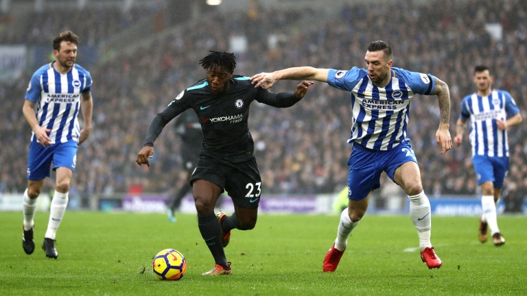 Brighton's Shane Duffy (right) battles with Michy Batshuayi of Chelsea