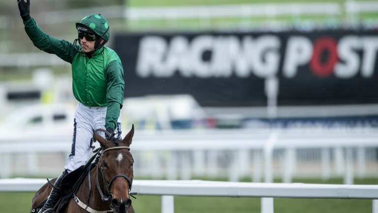 Ruby's back: after months on the sidelines following a broken leg, Ruby Walsh scores in the festival's second race as odds-on favourite Footpad lands the Arkle Novices' Chase