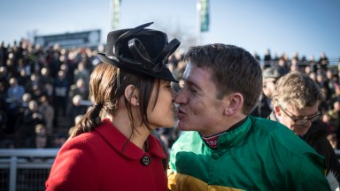 Paula Geraghty congratulates her husband Barry after his feature race victory