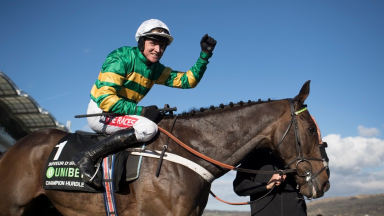After missing last year's festival due to injury, Barry Geraghty scores in the Champion Hurdle on Buveur D'Air, who won in 2017 under Noel Fehily