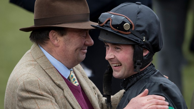 Trainer Nicky Henderson congratulates Nico de Boinville after Altior's win