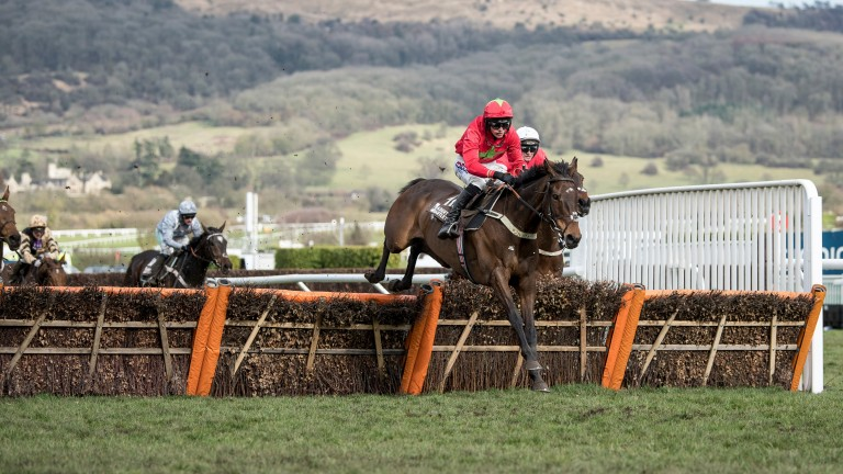 Kilbricken Storm and Harry Cobden clear the last en route to victory in the Albert Bartlett Novices' Hurdle