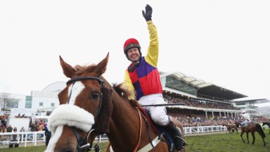 CHELTENHAM, ENGLAND - MARCH Richard Johnson on Native River celebrates after winning the Timico Cheltenham Gold Cup Chase at the Cheltenham Festival at Cheltenham Racecourse on March 16, 2018 in Cheltenham, England.  (Photo by Michael Steele/Getty Images)