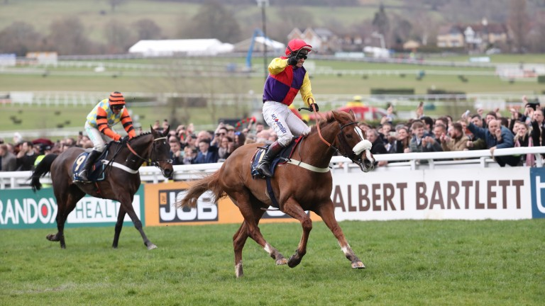 Might Bite (left) fails to overhaul Native River in the Cheltenham Gold Cup