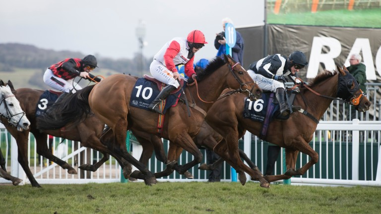 Pacha Du Polder and Harriet Tucker (nearside) collar Top Wood near the finish of the St. James's Place Foxhunter Challenge Cup