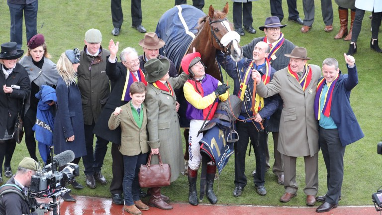 Richard Johnson, Colin Tizzard and the Brocade Racing team with Native River after a heroic Gold Cup win