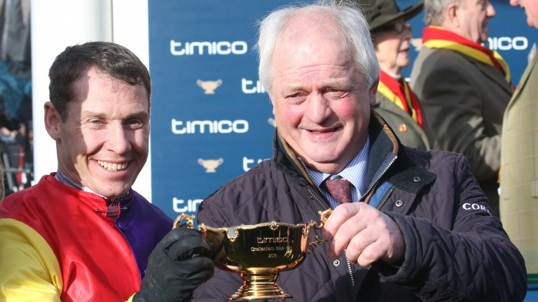 Richard Johnson and Colin Tizzard after winning the Gold Cup with Native River