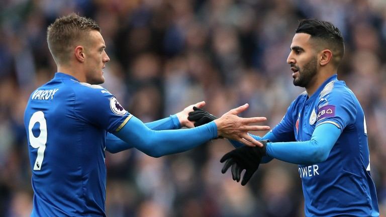 Riyad Mahrez and Jamie Vardy of Leicester