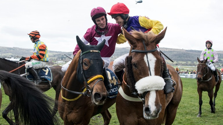 Richard Johnson (right): congratulated by Sean Flanagan after winning the Gold Cup