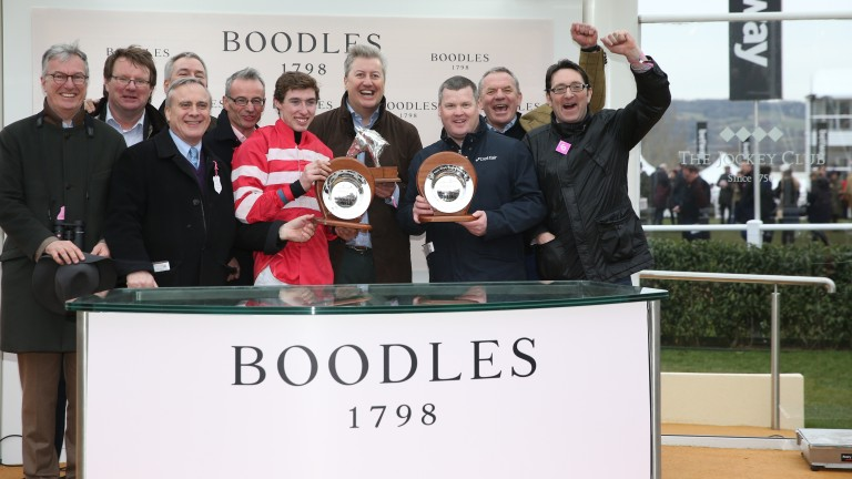 Connections of the Boodles Fred Winter Juvenile Handicap Hurdle winner pick up their prizes at Cheltenham on Wednesday