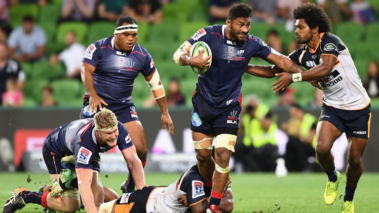 Amanaki Mafi goes on the charge for the Rebels against the Brumbies
