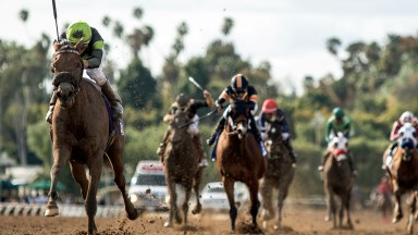 Easy peasy: Fault (Geovanni Franco) charges away to win the Santa Margarita Stakes by six and a half lengths