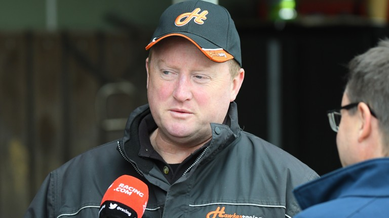 Wayne Hawkes talks to the media after Chautauqua failed his stalls test at the Cranbourne barrier trials