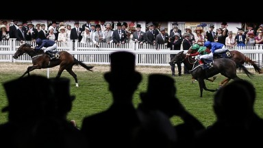 ASCOT, ENGLAND - JUNE 24: Ryan Moore riding September (L) win The Chesham Stakes on day 5 of Royal Ascot at Ascot Racecourse on June 24, 2017 in Ascot, England. (Photo by Alan Crowhurst/Getty Images for Ascot Racecourse)